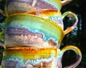 Ceramic Cappuccino Mugs - Ocean Love