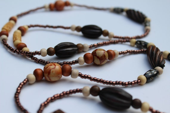 Long Wood Bead Necklace, Brown Y Beaded Statement Necklace, Rustic Jewelry, Boho Bronze Beauty
