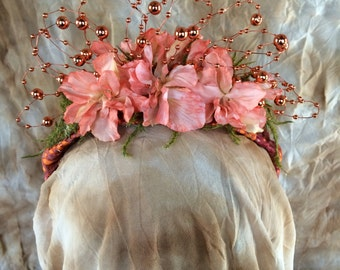 Floral and wire headpiece
