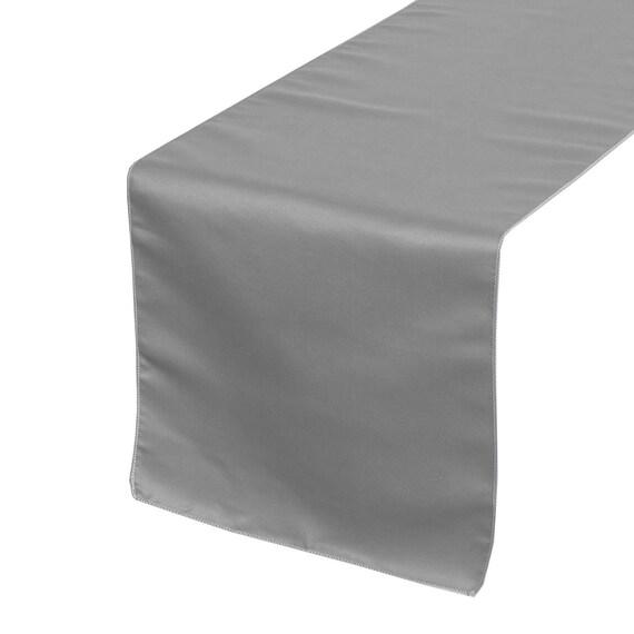 dark silver platinum lamour satin table runner wedding. Black Bedroom Furniture Sets. Home Design Ideas