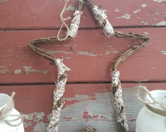 SALE! Rustic Star, Twig Star, Shabby Chic Star, Star with floral print, Purple Star, Rustic Decor, Fall Decor, Rustic Door Decor