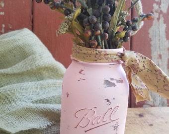 SALE! Rustic Mason Jar, Painted Mason Jar, Rustic Wedding Decor, Baby Shower Decor, Pink Mason Jar, Shabby Chic Decor