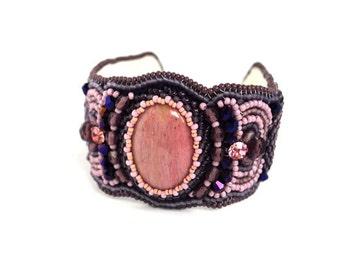Pink Purple Bead Embroidered Bracelet Beaded Rhodonite bracelet Beadwork Bracelet Seed bead Bracelet Bead Embroidery Embroidered Jewelry