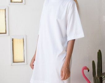 White T - Dress // White T - Dress // Casual Shirt Dress // Oversize