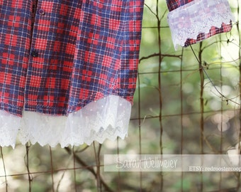 Medium Vintage Upcycled Flannel with lace~Medium