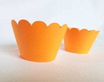12 neon orange scallop cupcake wrappers cupcake wrapper Harley Davidson color