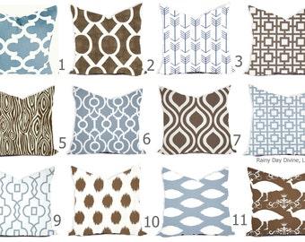 Pillows Cover Custom - Dusty Ice Blue Spa White Brown Chocolate Modern Geometric Tribal Quatrefoil 18x18, 16x16