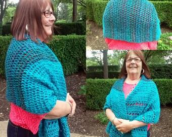 Crochet Shoulder Wrap/Oversized Shawl-Opal Lagoon