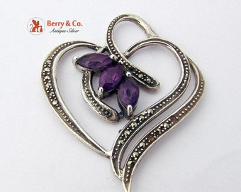 SaLe! sALe! Heart Pendant Sterling Silver Amethysts Marcasites