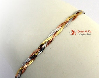 SaLe! sALe! Multi Color 14 K Gold Braid Bracelet
