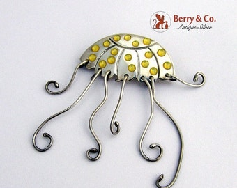 SaLe! sALe! Jelly Fish Brooch Sterling Silver Signed A and J Harvey