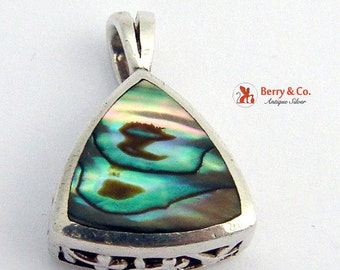 SaLe! sALe! Triangular Pendant Sterling Silver Abalone Shell