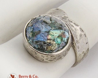 Colorful Art Glass Centerpiece Ring Hammered Sterling Silver