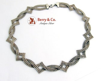 Vintage Interlacing Tiny Bead Necklace Sterling Silver