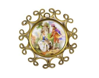 LIMOGES porcelain pendant gold metal filigree