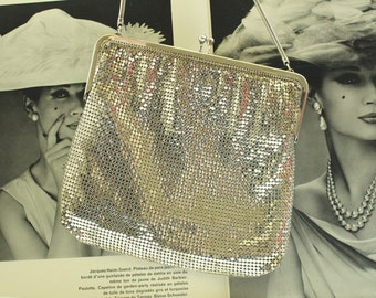 Vintage Silver Mesh Handbag Purse