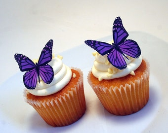 Edible Butterflies Wedding Cake Topper, Purple Monarch Edible Butterflies Set of 12 DIY Cake Decor, Edible Cake Decorations, Cupcake Toppers