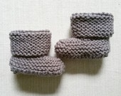 Grey Baby Booties, Knit Booties, Crib Shoes, Knit Shoes, Newborn, Gender Neutral