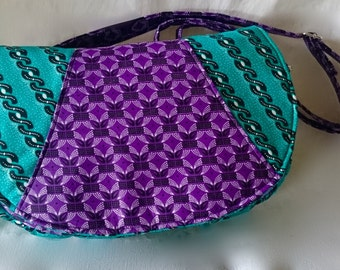 African Shwe Shwe Swoon Rosie Crossbody Bag Purple & Green
