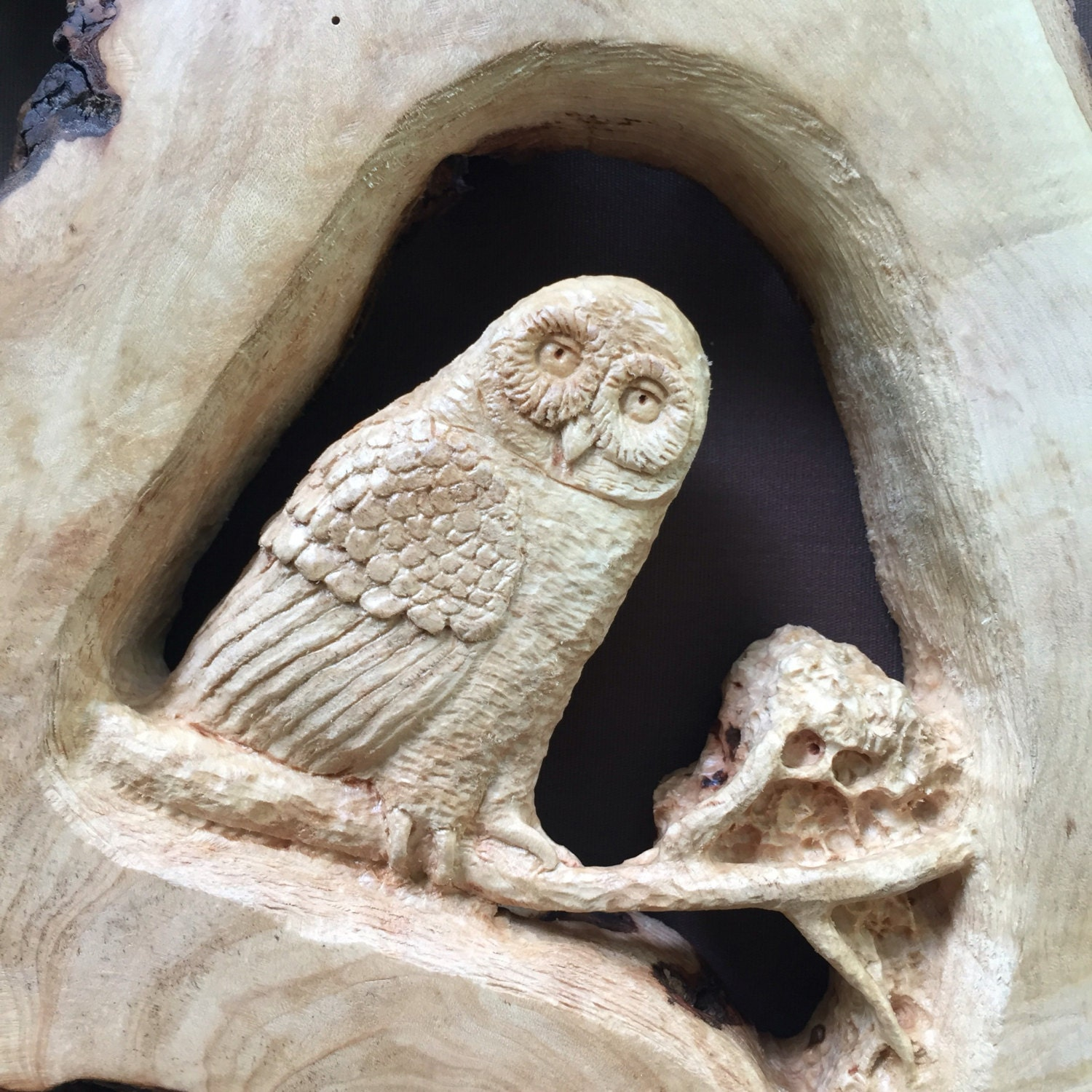 Wood carving owl and raccoon hand carved wall art original