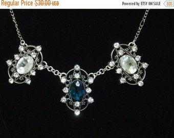 ON SALE Blue & Clear Ornate Gem Necklace