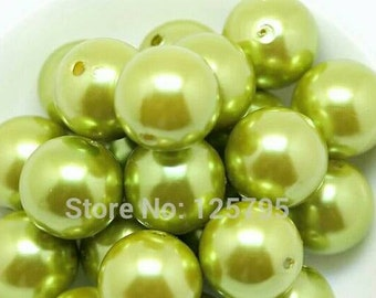 Green Pearl Gumball Beads- 20mm- Qty-10