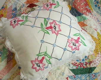 Shabby Chic Pillow Made from Vintage Embroidered Fabric Throw Pillow Boudoir Pillow Cottage Chic Pillow Linen Accent Pillow