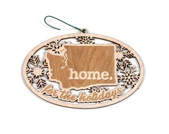 Engraved Washington Wood Christmas Ornament