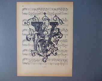 Letter V Print /  LETTER Print on Vintage Music Page / Home Decor / Antique Letter / Old Music Sheet / Paper Ephemera