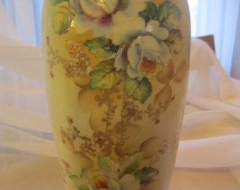 Nippon Hand Painted Vase  with Green Cherry Blossom Mark