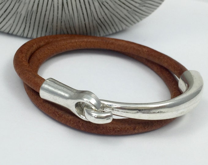 Featured listing image: Distressed Tan Leather Double Wrap Bracelet, Antique Silver Hook Clasp, Leather Bangle, Unisex, Men's and Women's Leather Bracelet,