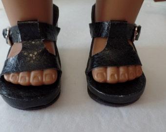 "Black - Platform  Sandals-- for 18"" Dolls--Shown on my American Girl Doll"