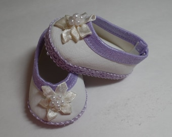 """White and Lavender -Mary Jane-- Doll Shoes--   for 18"""" American Girl--Shown on my american girl doll"""