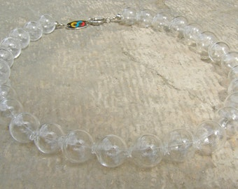 Genuine Murano glass clear hollow micro bead bubble necklace