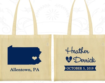 Pennsylvania Wedding, Pennsylvania Tote Bags, Promotional Canvas Tote, Destination Wedding Bags, State Tote Bags, Wedding Tote (137)