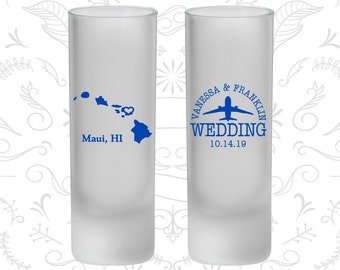 Hawaii Wedding, Frosted Shooter Glass, Destination Wedding, State Wedding (110)