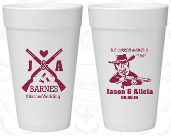 Shotgun Wedding, Customized Foam Cups, Country Wedding, Redneck Wedding, Styrofoam Cups (563)