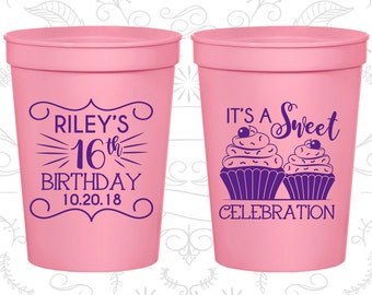 16th Birthday Cups, Sweet 16, Cheap Plastic Birthday Cups, It's a sweet celebration, Cupcake Birthday Cups, Birthday Cups (20041)