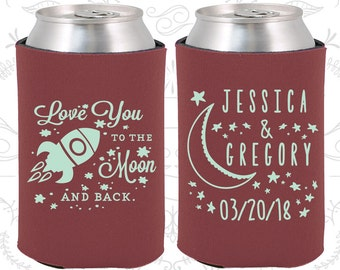 Love you to the moon and back, Personalized Wedding Gift, Spaceship, Moon Wedding Gift, Wedding Can Coolers (256)