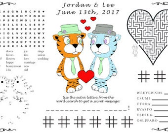 Wedding Activity PDF. Printable Placemat. Customize Your Names and Date. You Choose Genders.