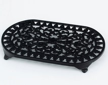 Large Cast Iron Trivets Quality Made Double Pan Pot Stand Decorative Black, Green, Ivory, Grey by Victor Cookware & Robert Welch