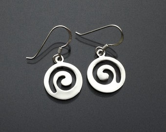 925 Solid Sterling Silver Swirl Dangle Earrings/SWIRL Earrings/Oxidized/Swirl Dangling Earrings/Swirl Silver