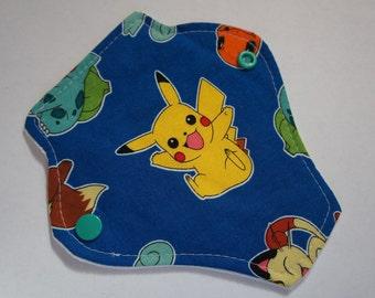 reusable cloth menstrual pad / panty liner / 'pikachu'