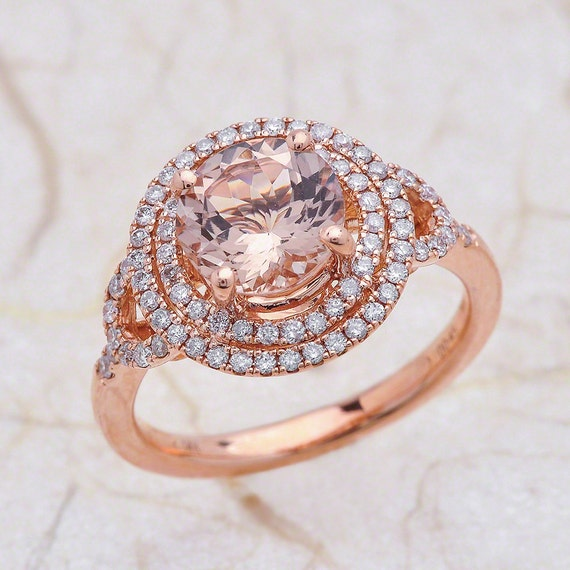 Double Halo Rose Gold Morganite Engagement Ring