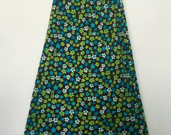 70's Blue & Lime Green Floral Skirt
