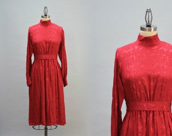 80s Silk Day Dress - Vintage Eighties Red Silk Charmeuse Dress Pleated Gathered Front Full Sleeve Belt High Neck Size M Medium