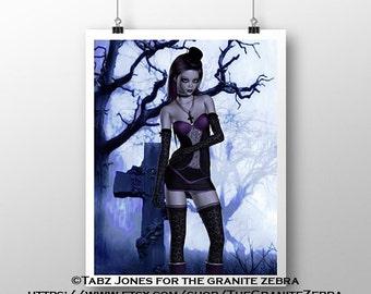Cemetery Lolita Gothic Fantasy Art Limited Edition Print
