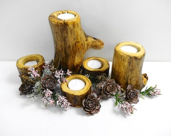 Rustic Wood Candle Holders, Log Candle Holders, Branch Candle Holders, Rustic Candle Holders, Set of 5
