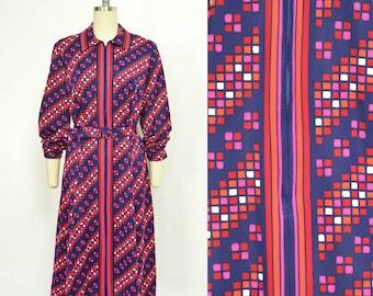 60s Mod Print Dress, Geometric Print, Vintage Navy Blue Dress