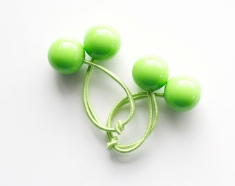 LIGHT GREEN bobbles. Hair ties. Elastic hair ties. Funky. Light Green. Retro style hair bobbles. Retro Hair Accessories